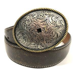 Nocona Western Belt Leather Embossed Oval Buckle